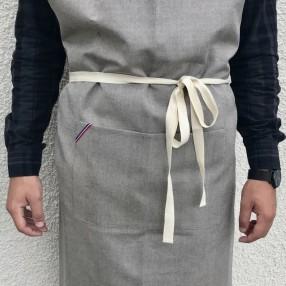 grand chevron gris AVEC SANGLE BEIGE  fabriqué et tissé en France pur coton