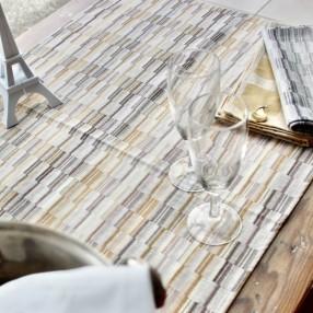 BROUILLADE VERT OLIVE ORANGE  fabriqué et tissé en France pur coton