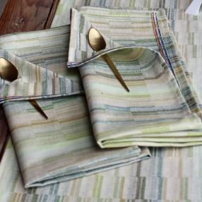 VERT OLIVE  fabriqué et tissé en France pur coton