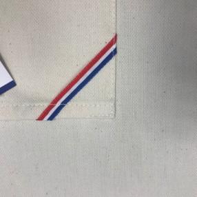 détail poche tablier écru + LISERÉ BLEU BLANC ROUGE  fabriqué et tissé en France pur coton