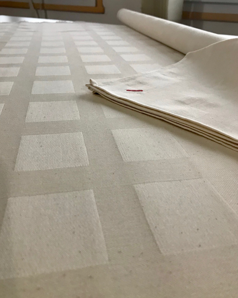 BRUT ICI NAPPE + SERVIETTE  fabriqué et tissé en France pur coton