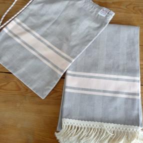 GRIS PERLE/ROSE POUDRE made in france coton d'Égypte
