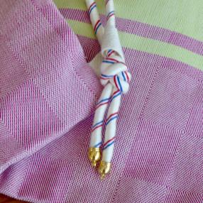 DETAIL SAC cordon bleu/blanc/rouge artisanal coton made in france