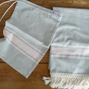 GRIS PERLE ET ROSE POUDRE made in france coton d'Égypte