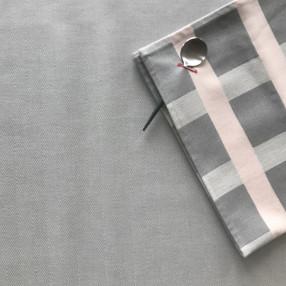 GRIS PERLE ET ROSE POUDRE  fabriqué et tissé en France pur coton