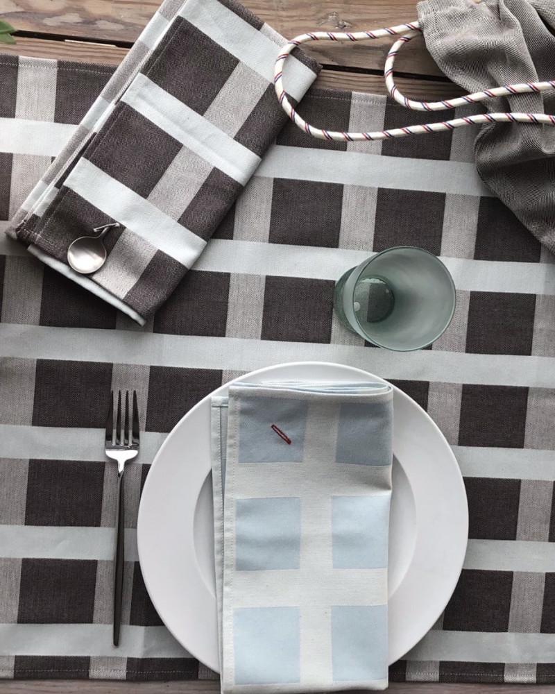 GRIS BLEU CIEL ICI NAPPE + SERVIETTE  fabriqué et tissé en France pur coton
