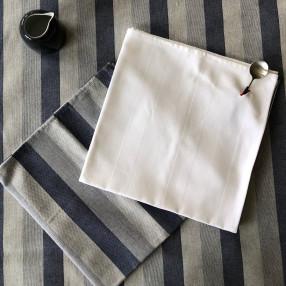 bleu jean et blanc fabriqué et tissé en France pur coton