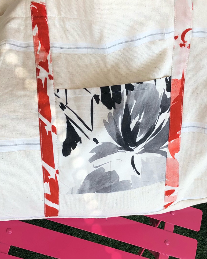 Grand Cabas XXL fleur noir. Fabriqué en France. Zéro déchets.