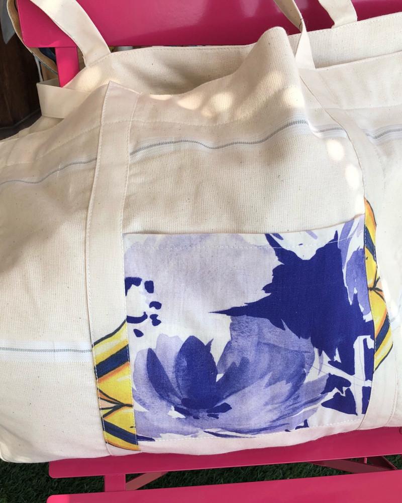 Grand Cabas XXL fleur bleu. Fabriqué en France. Zéro déchets.