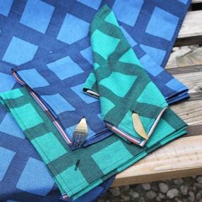 Bleu dur - Noir / Vert Émeraude - Noir  fabriqué et tissé en France pur coton