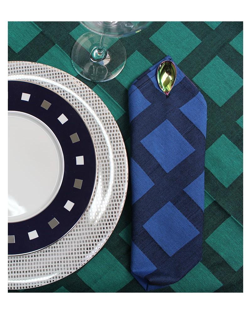 Bleu Dur-Noir / Vert Émeraude-Noir  fabriqué et tissé en France pur coton
